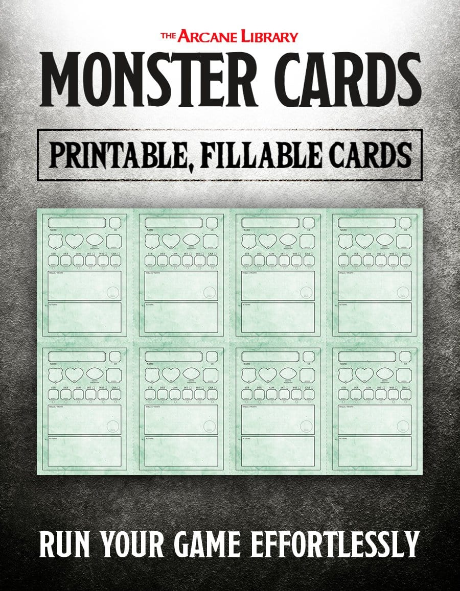This is a photo of Printable Monster Cards 5e pertaining to blank