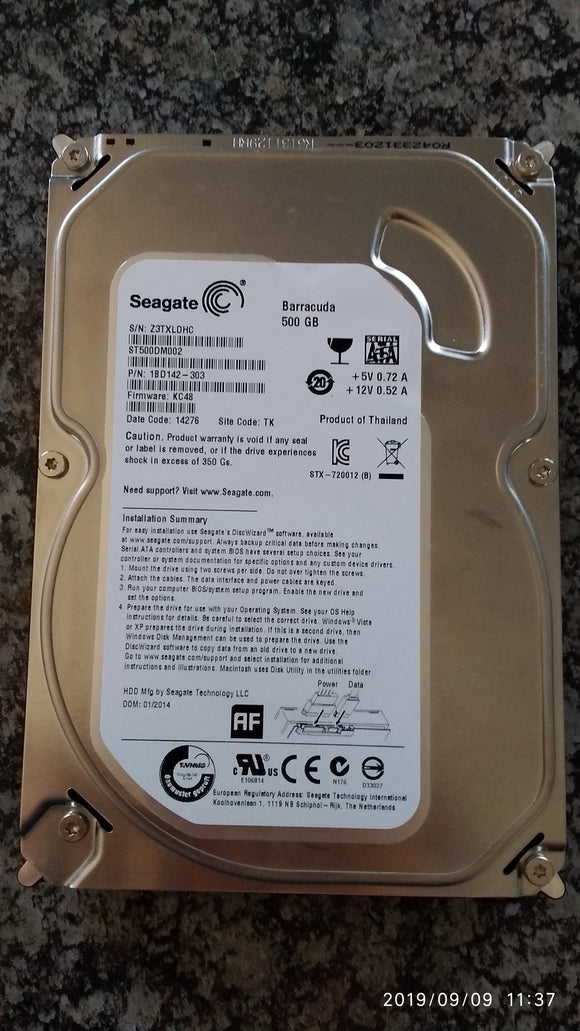 Used Seagate 500GB 3.5inch Hard Drive