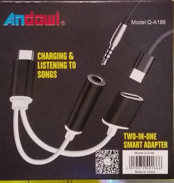 Andowl Charging & Listening To Songs Two-In-One Smart Adaptet Type-C