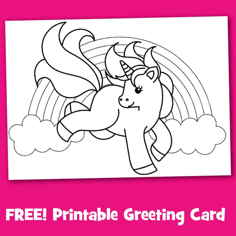 Unicorn Greeting Card to Color