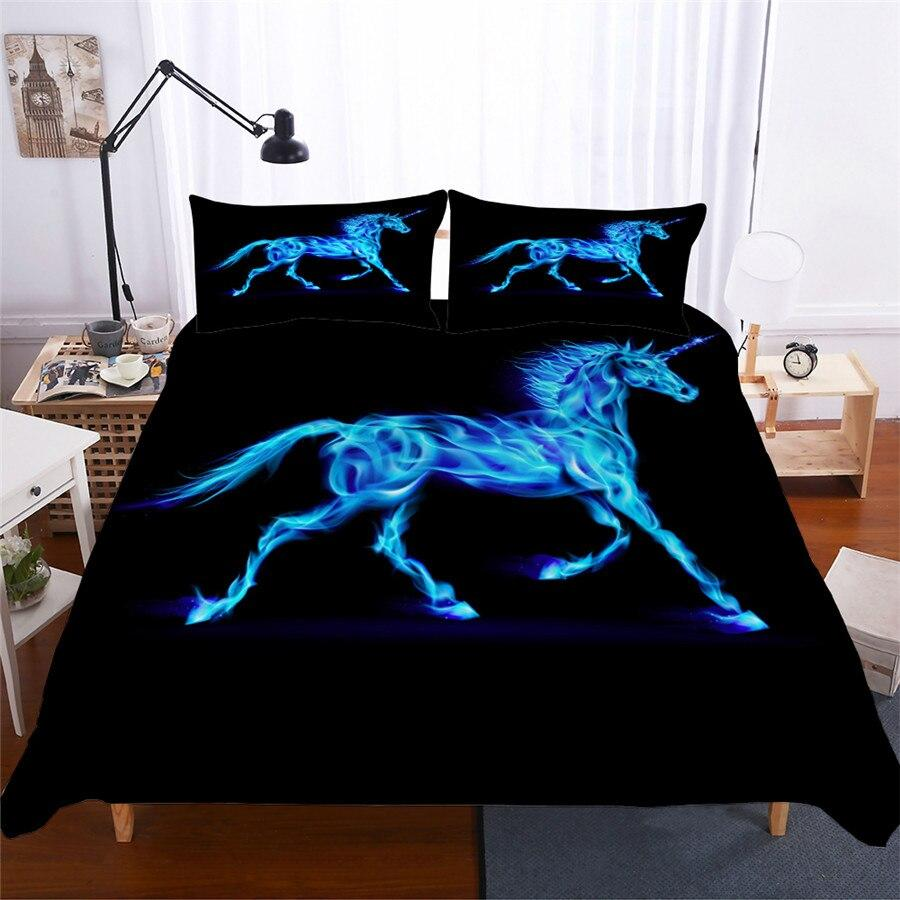 unicorn glow in the dark bed set