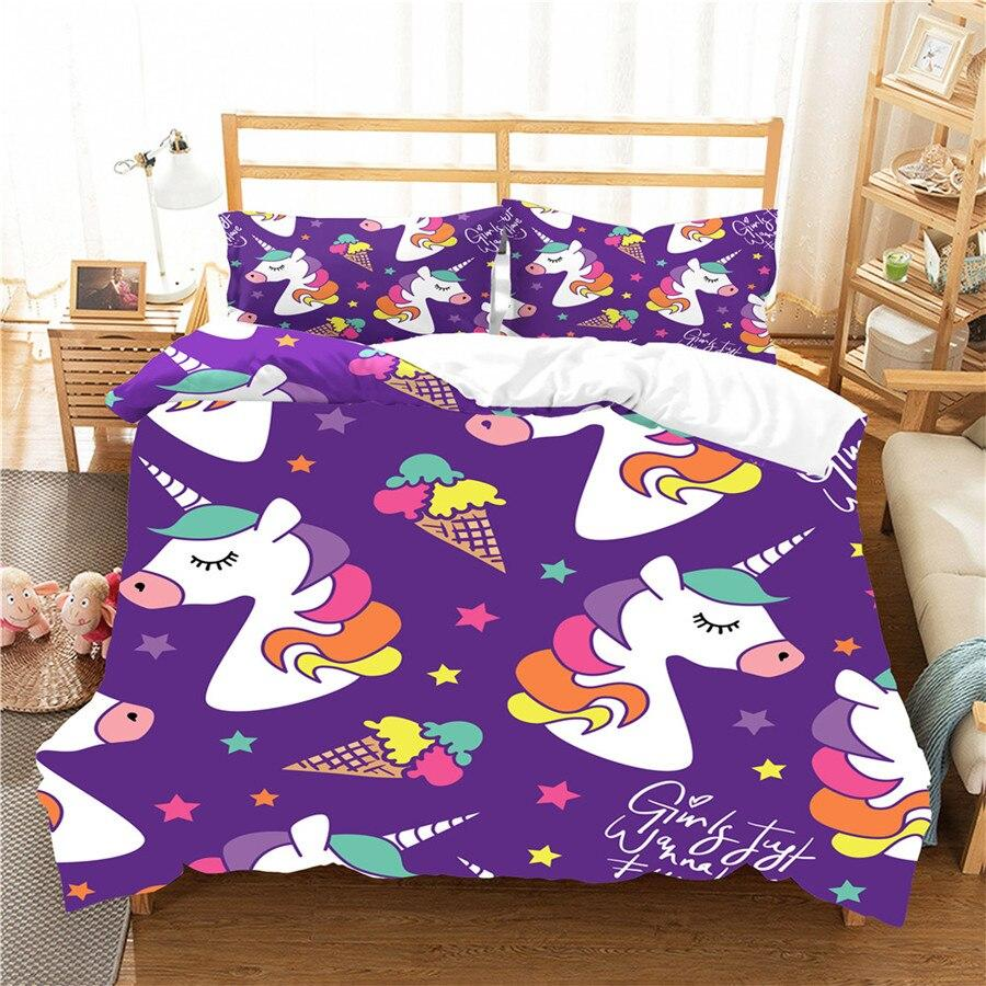 kawaii unicorn bed set