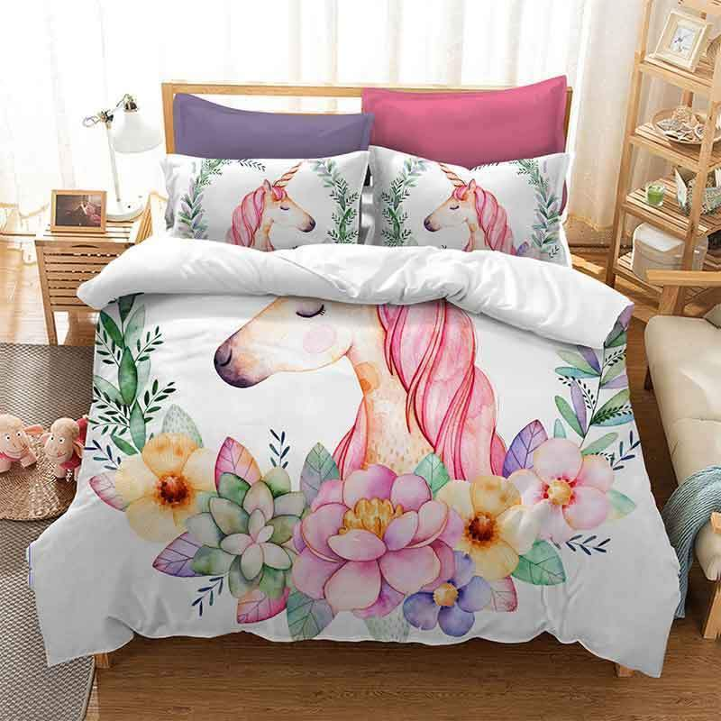 White Unicorn Bed Set