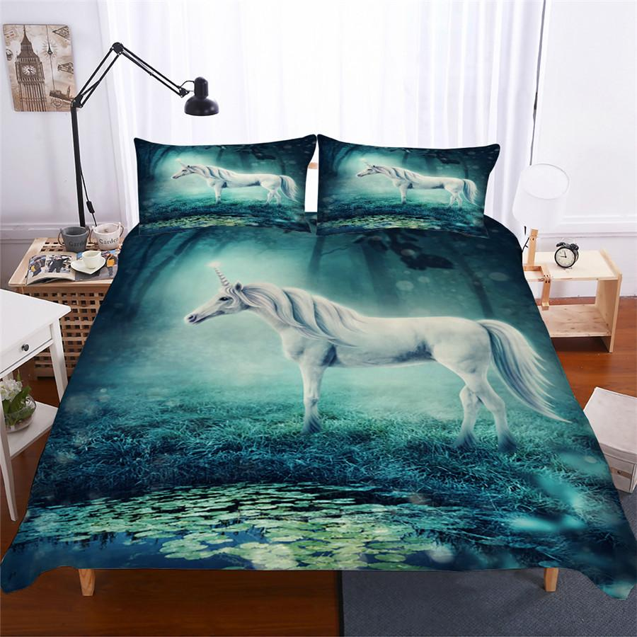 enchanted forest unicorn bedding set