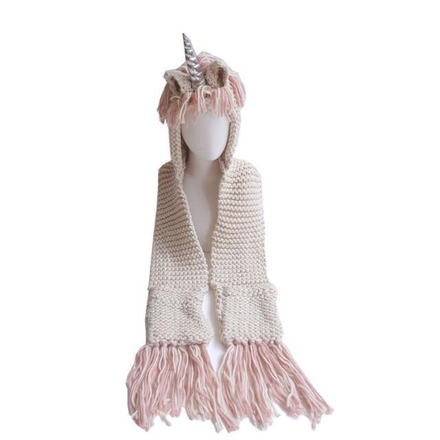 Unicorn Hat Scarf with Pockets for Adults