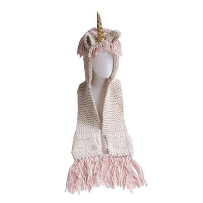 Unicorn Hat Scarf with Pockets for Adults Gold