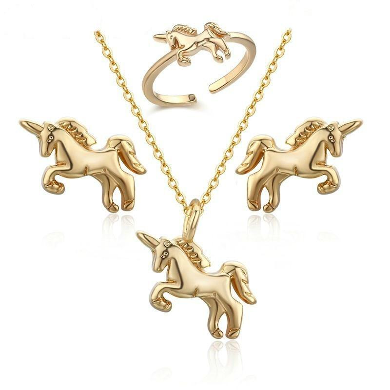Unicorn Necklace and Ring Set