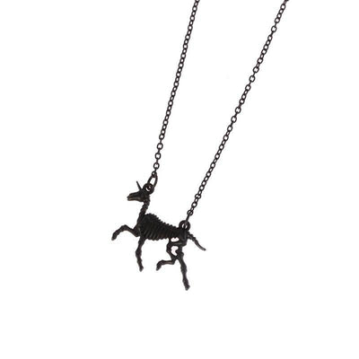 Carved Bone Unicorn Necklace Black