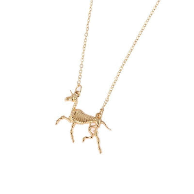 Carved Bone Unicorn Necklace Gold
