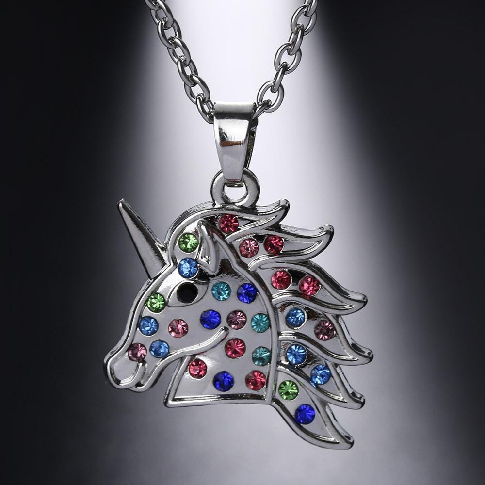 Unicorn Necklace Crystal Multicolor