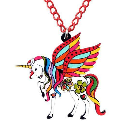 Unicorn Necklace Fairytale Red