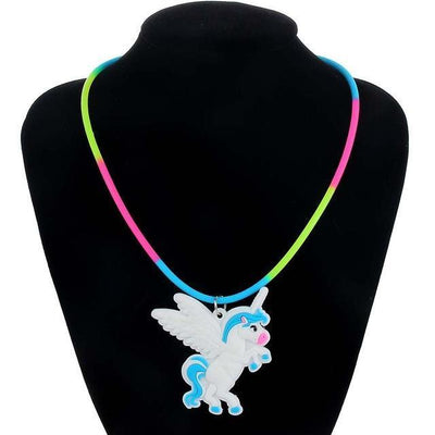 Unicorn Necklace for Kids Blue