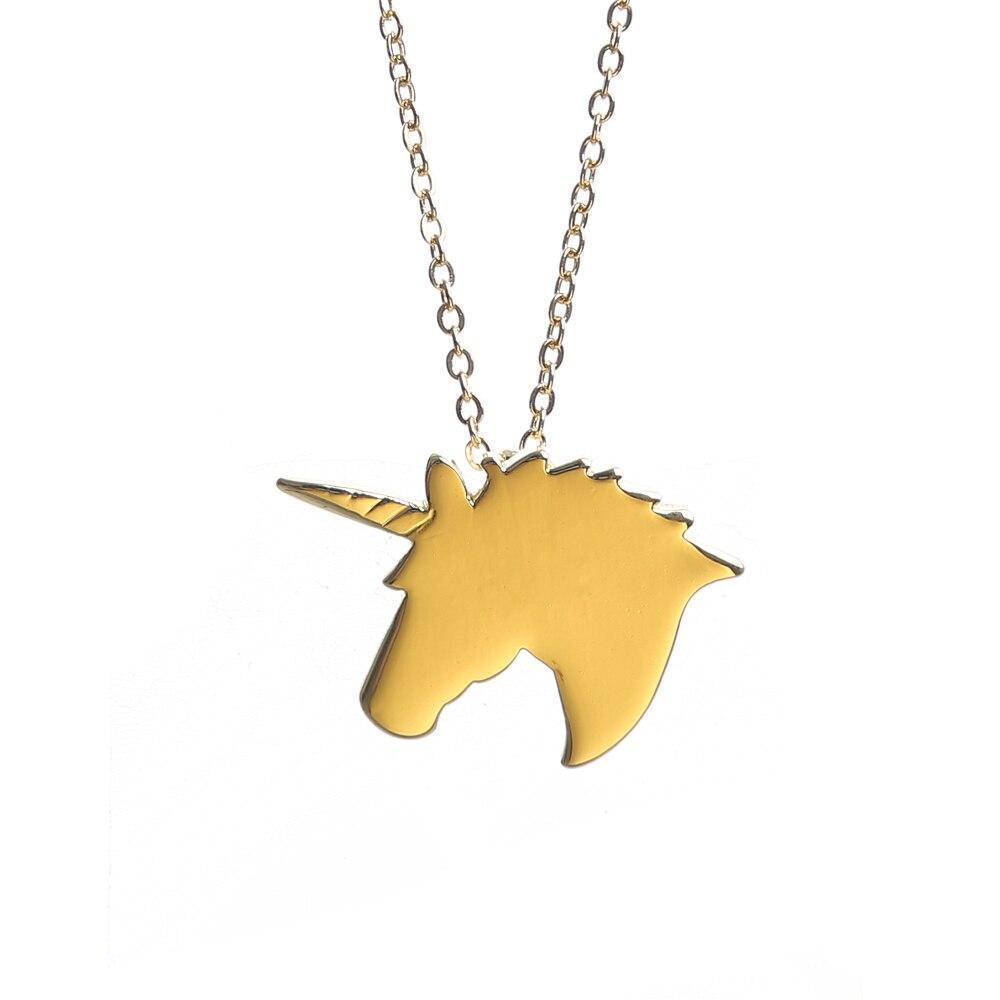 Unicorn Necklace Head Gold