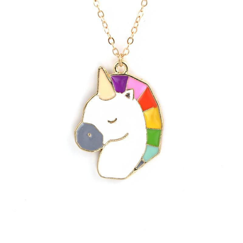 Metal Colorful Unicorn Necklace
