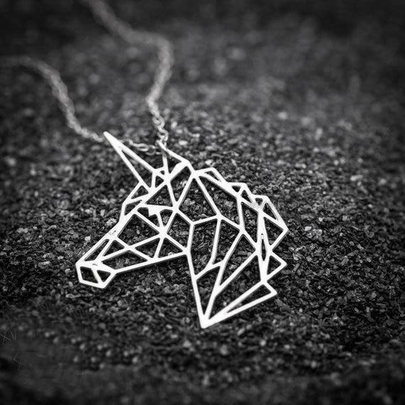 Unicorn Necklace Origami Silver