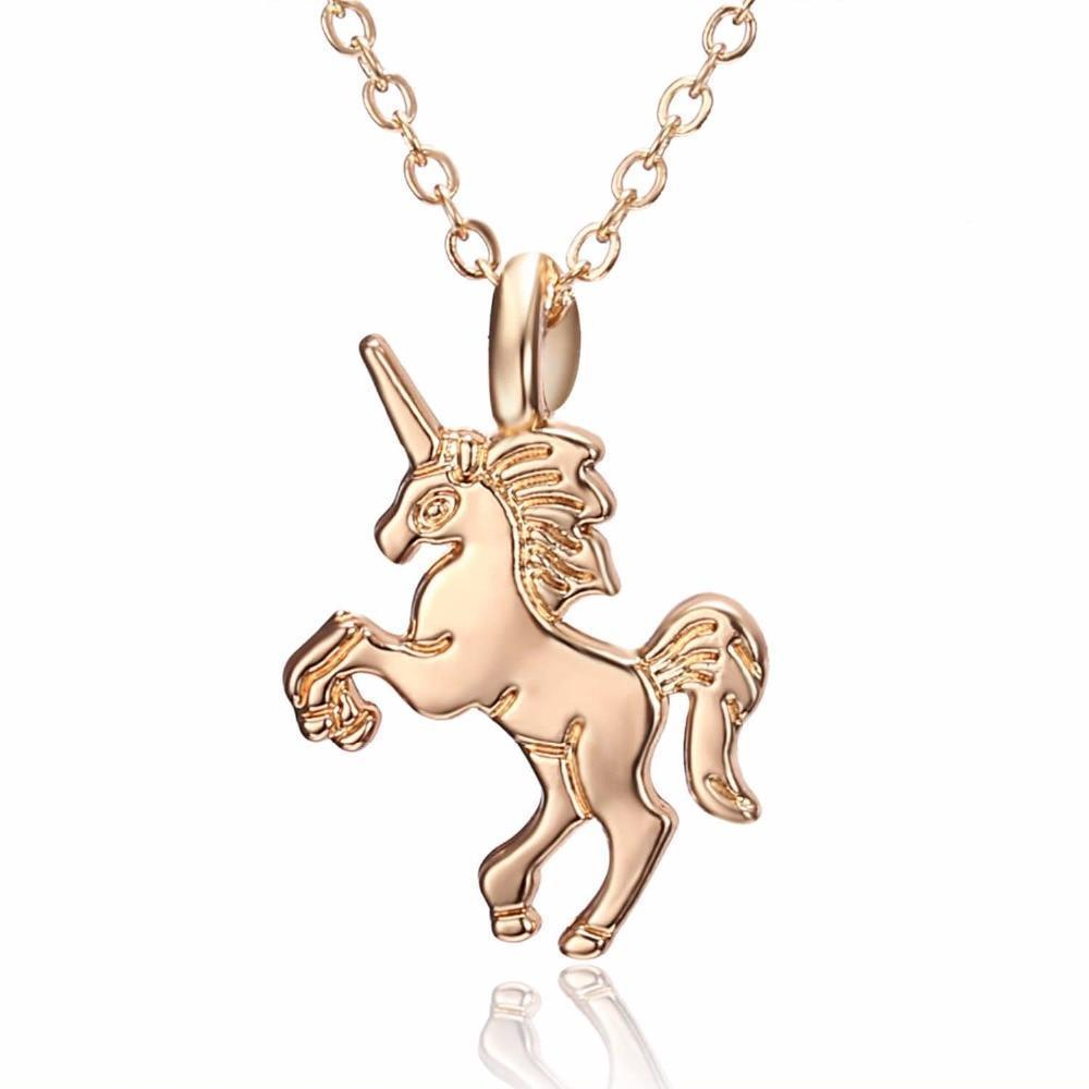 Unicorn Necklace Pendant Gold
