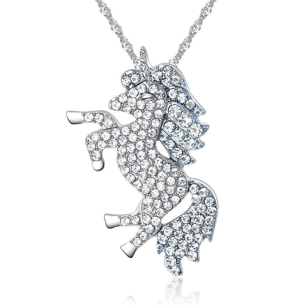 Unicorn Necklace Sparkling Crystal