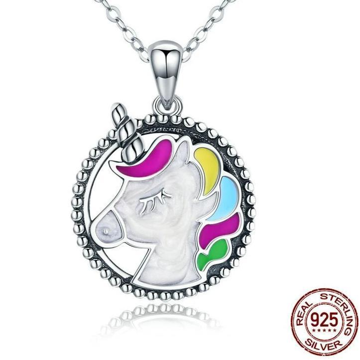 Sterling Silver Rainbow Unicorn Necklace