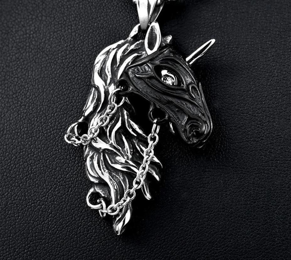 Vintage Black Unicorn Necklace