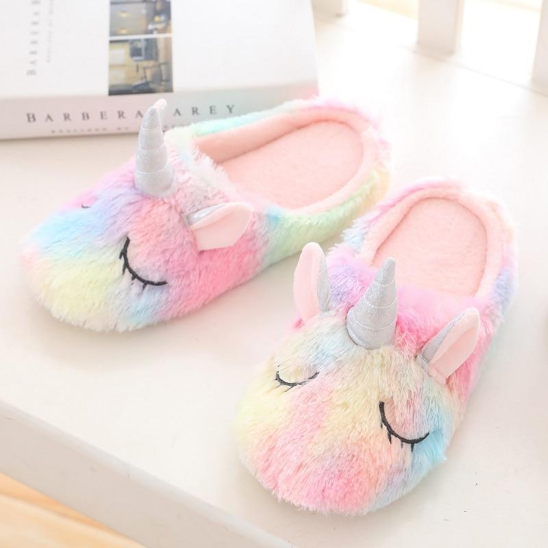 Unicorn Slippers Fuzzy