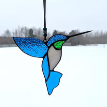 Load image into Gallery viewer, Blue & Green Stained Glass Hummingbird Suncatcher