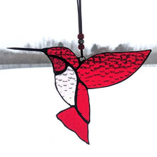 Load image into Gallery viewer, Red Stained Glass Hummingbird Suncatcher