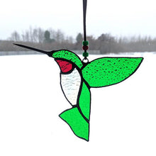 Load image into Gallery viewer, Green & Red Stained Glass Hummingbird Suncatcher
