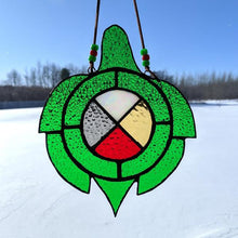 Load image into Gallery viewer, Green Stained Glass Turtle Suncatcher With Medicine Wheel