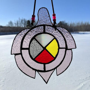 Pink Stained Glass Turtle Suncatcher With Medicine Wheel