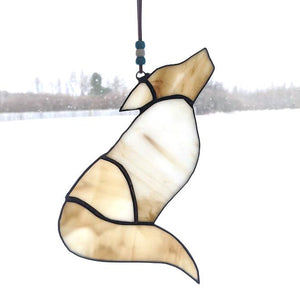 White Stained Glass Wolf Suncatcher