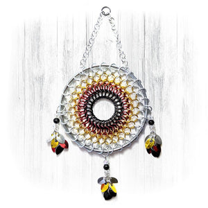 Handmade Medicine Wheel Chainmaille Dreamcatcher - White