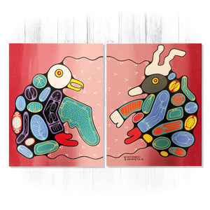Diptych Medicine Helpers - Original Woodland Style Acrylic on Canvas