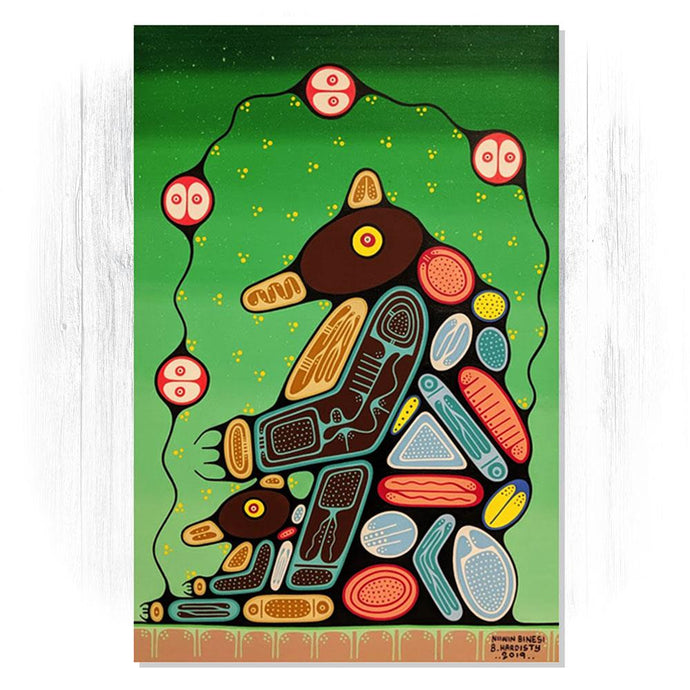 Bear Family in Spring - Original Woodland Style Acrylic on Canvas