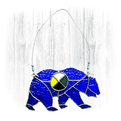 Blue Stained Glass Bear Suncatcher With Medicine Wheel