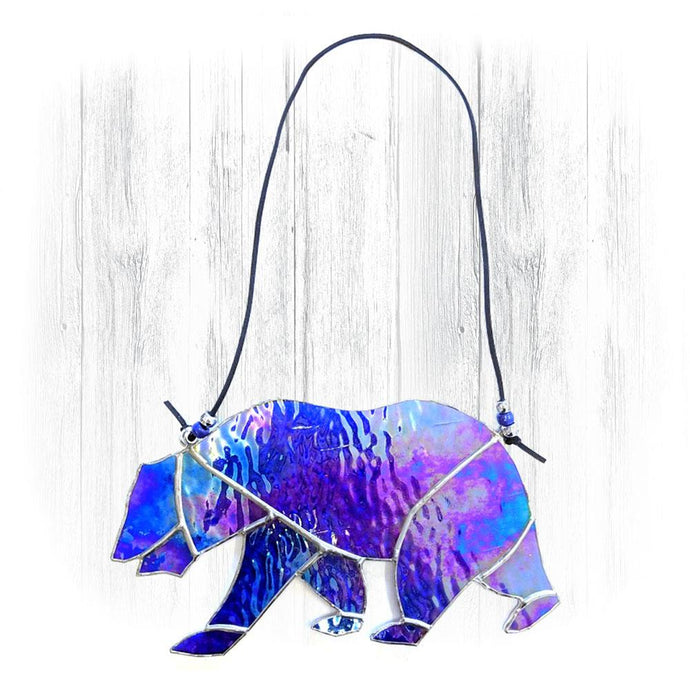 Blue Iridescent Stained Glass Bear Suncatcher
