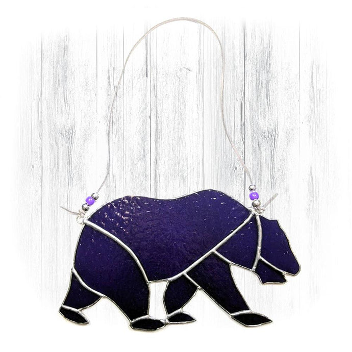 Purple Stained Glass Bear Suncatcher
