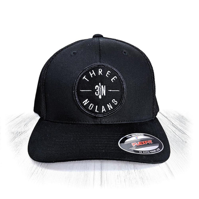 Black 3 Nolans Flexfit Trucker Hat With Black Patch