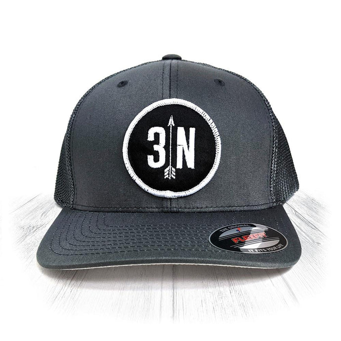 Grey 3 Nolans Flexfit Trucker Hat With White Patch
