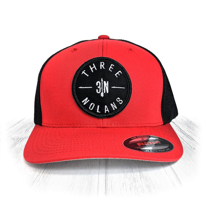 Red 3 Nolans Flexfit Trucker Hat With Black Patch