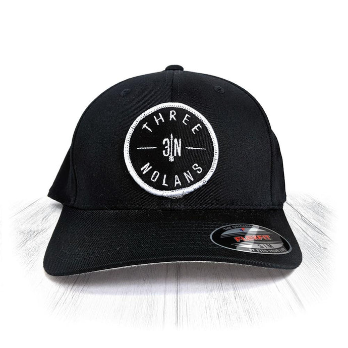 S/M Black 3 Nolans Flexfit Hat With White Patch