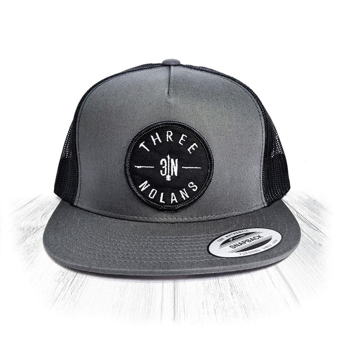 Grey 3 Nolans Trucker Snapback With Black Patch