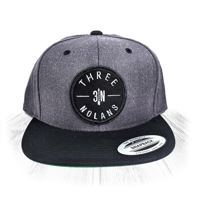 Grey 3 Nolans Snapback With Black Patch