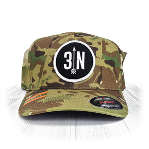 S/M Camo 3 Nolans Flexfit Hat With White Patch
