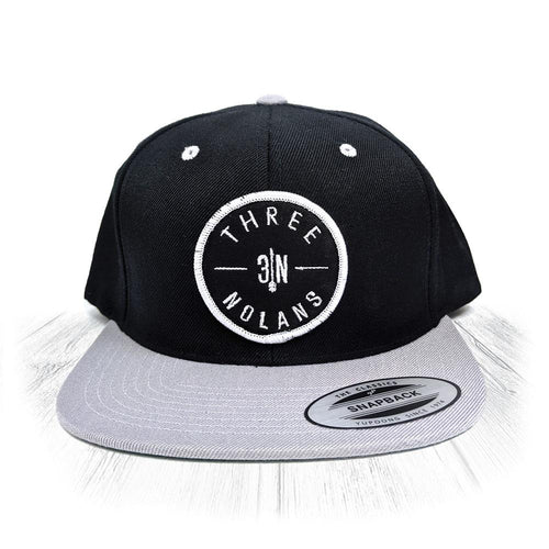 Black & Grey 3 Nolans Snapback With White Patch
