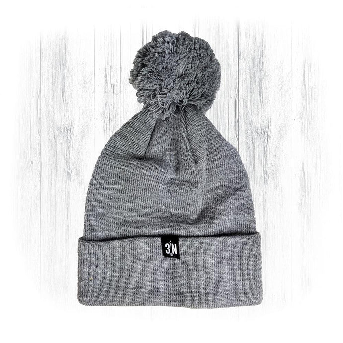 Grey 3 Nolans Beanie With Pom Pom