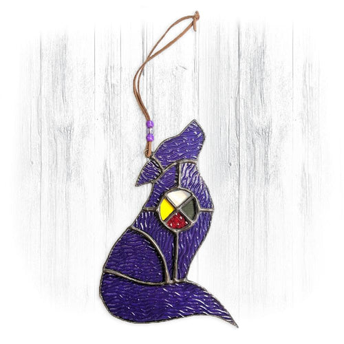 Purple Stained Glass Wolf Suncatcher With Medicine Wheel