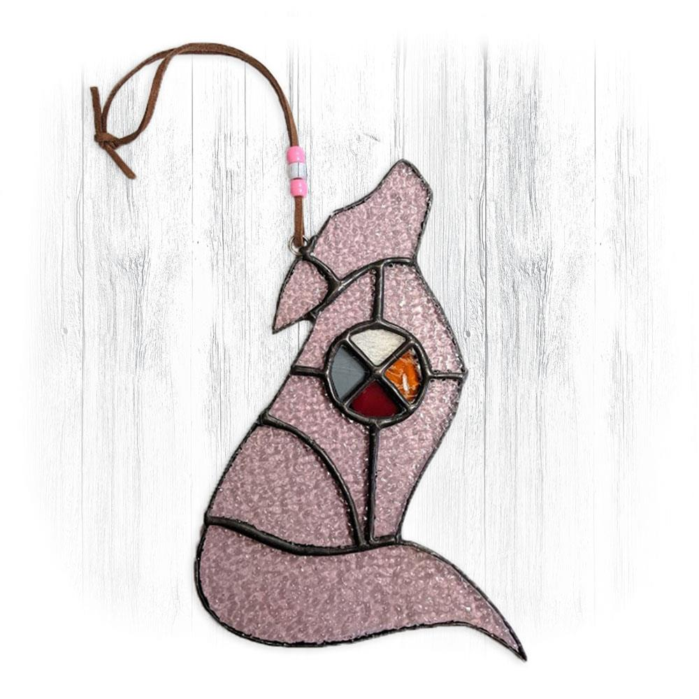 Pink Stained Glass Wolf Suncatcher With Medicine Wheel