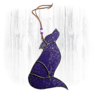 Purple Stained Glass Wolf Suncatcher