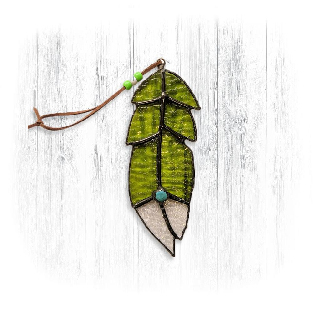 Green Stained Glass Feather Suncatcher