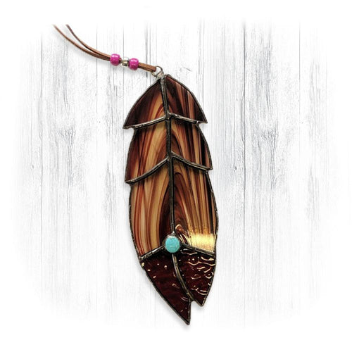 Brown Stained Glass Feather Suncatcher